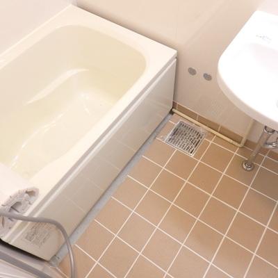 タイル貼りの浴室の床。