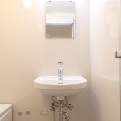 浴室と同室にある洗面台。