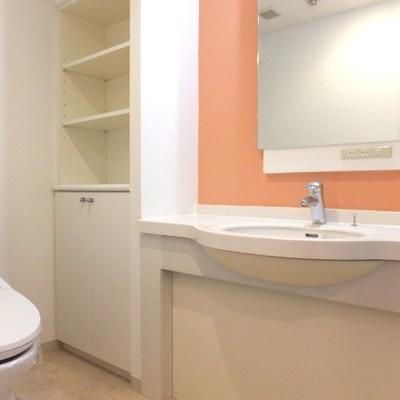 洗面所兼トイレ。オレンジ!