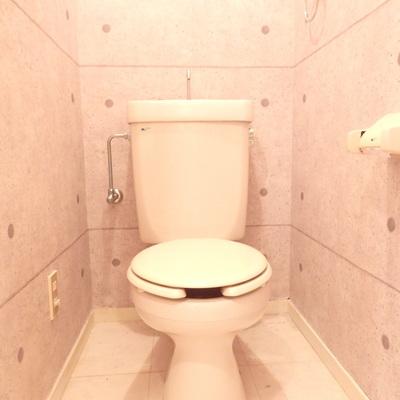 コンクリートの壁紙のトイレ。