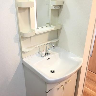 普通な感じの洗面台は使い勝手良さそう