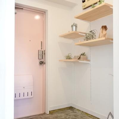 玄関は便利な可動収納です。