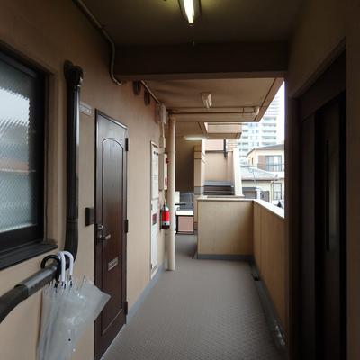 玄関前の共用部はちょっと味のある雰囲気。お部屋はエレベーターも階段も使える便利な場所にあります。