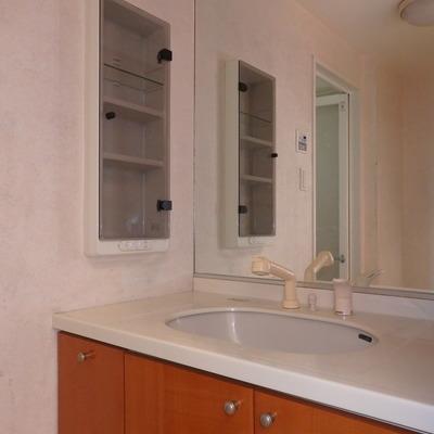 洗面台の鏡、大きい!
