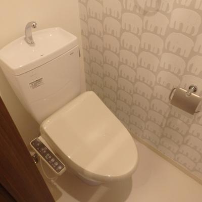 トイレの壁紙はなんと像柄!