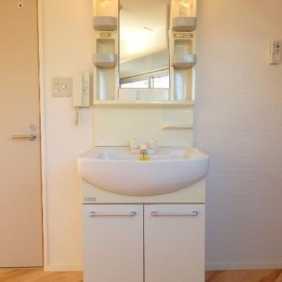 独立洗面台はちょいレトロ。