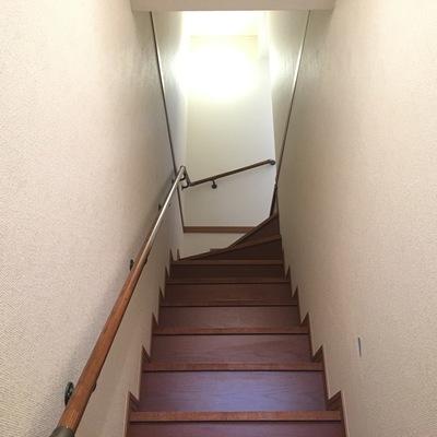 階段を登って。