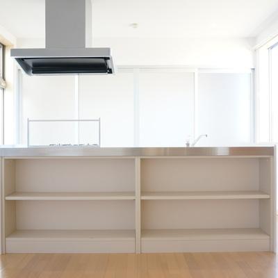 料理本とか小物の見せる収納スペース!