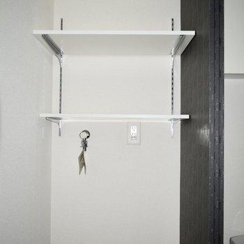 洗濯機の上にも、収納スペース!
