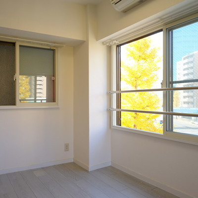 窓から銀杏並木が爽やか。