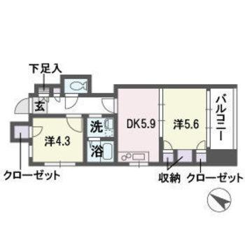 間取りは2DK。ダイニングキッチンと洋室をつなげて使えば1LDKぽくもなりますよ。