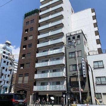 目の前の通りは浅草寺につながっています