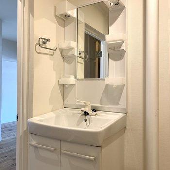 洗面台は既製品ですが綺麗です!こちらの写真は301号室のもの