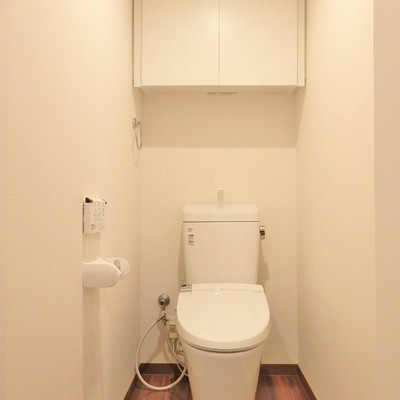 トイレの上には扉付き収納!