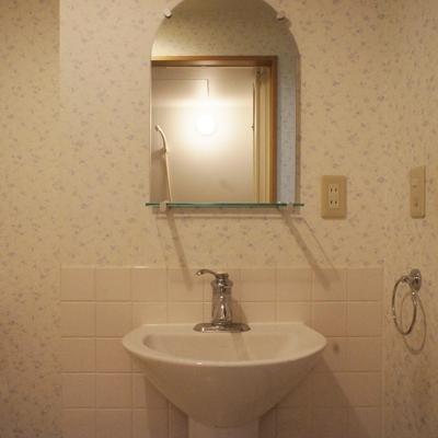洗面台。鏡がステキなデザイン