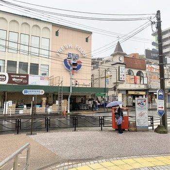 駅前にはスーパーや100円ショップなどのお店が充実しています。