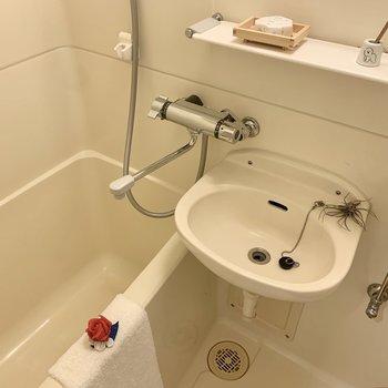 洗面台上に石鹸やシャンプーが置けますね。