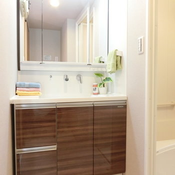 清潔な独立洗面台。大きいですね。