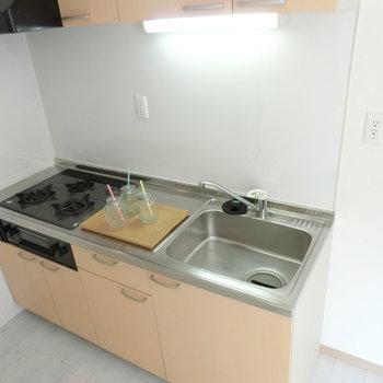こちらはキッチン。3口ガスコンロ。料理もしっかりと。