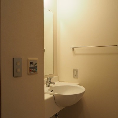 脱衣スペースにシュッとした洗面台があります。