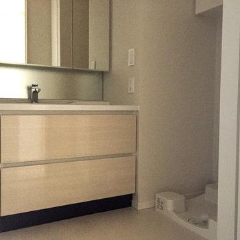 脱衣所も綺麗で豪華、洗濯機も置けます  *写真は通電前のものです