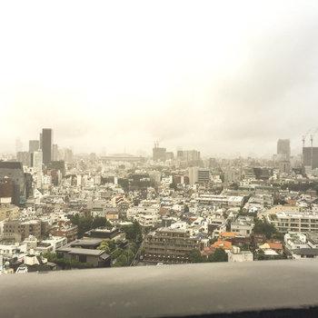 バルコニーからの眺望、都心が一望できます