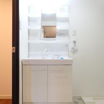 脱衣所・独立洗面台。こちらも交換済です※写真は前回募集時のもの