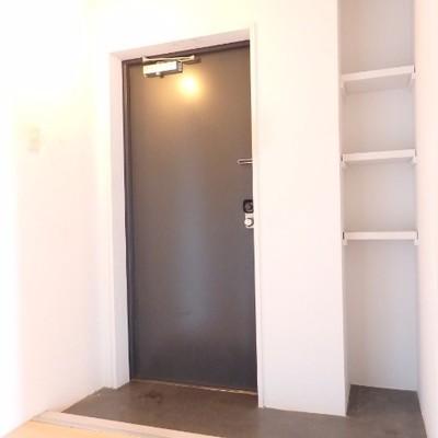玄関。シューズボックスは小さめです。広さはあるのでラックを置きましょう。