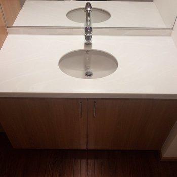 スペースたっぷりの洗面台。ぜいたくな気分に。