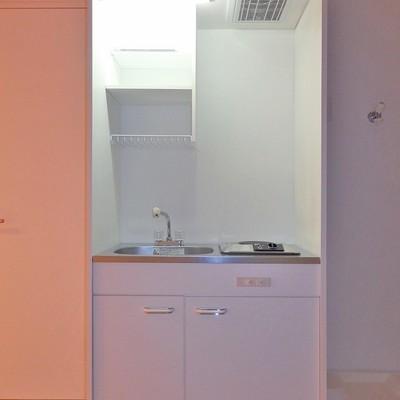 キッチンは電気コンロのコンパクトタイプ。
