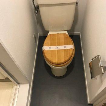 トイレの便座は木製で可愛らしく※写真は203号室