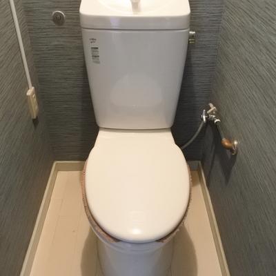 トイレも綺麗にリノベ。落ち着いたネイビーです。