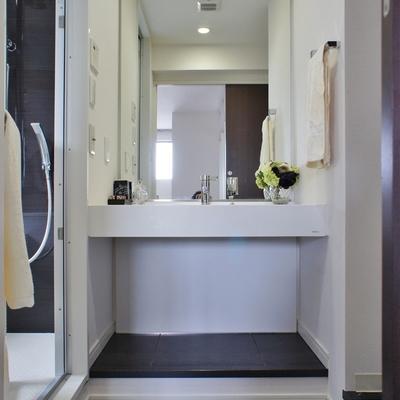 2階パウダールーム。洗面台は大きく