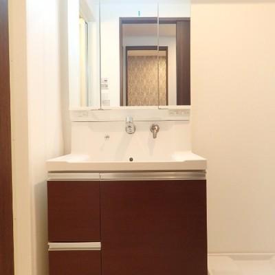 独立洗面台の横に洗濯機置場です。※別部屋の写真です