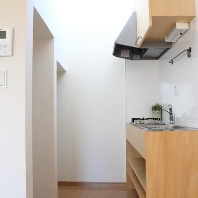 キッチンスペース、左に冷蔵庫と洗濯機