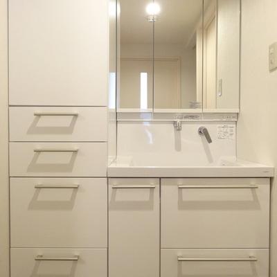 洗面台もキレイ。なによりおそろいの収納が嬉しい!