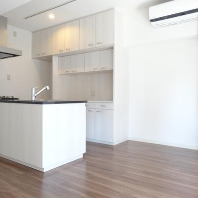 シェルフの奥は冷蔵庫スペース。この際、冷蔵庫も大きめに新調!?