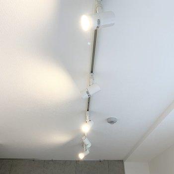 天井のライティングレールから下がるスポットライトも素敵です◎コンクリートの壁にはピクチャーレールも。