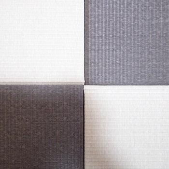 【和室】白と黒のコントラスト、なかなかみない畳ですね。