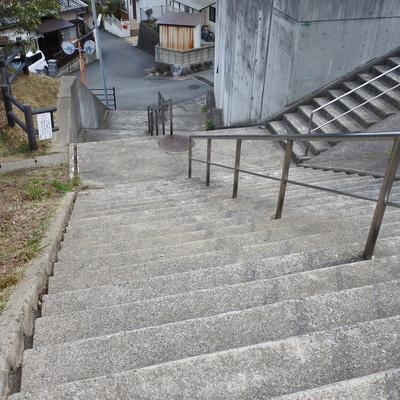 駅からの近道はこの階段をのぼること!