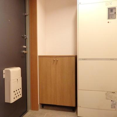 玄関。給湯器が鎮座しています