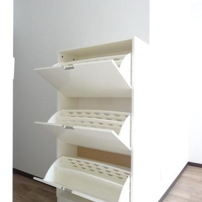 入口にある棚はこんなかんじ。事務所利用なら書類ファイルなどの収納によさそう。