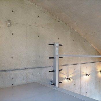 天井はアールがかってます。ダンベルみたいなはしご