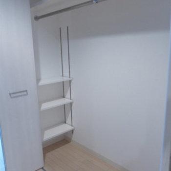 大きめクローゼットが廊下にあります。※写真は4階の反転間取り別部屋のものです