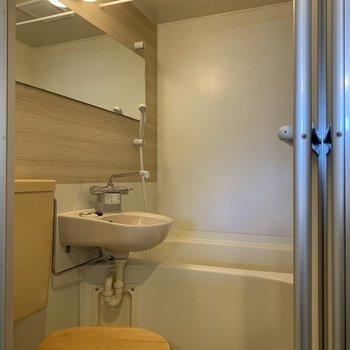 横に広い鏡に木製便座。この三点なら使いやすい!