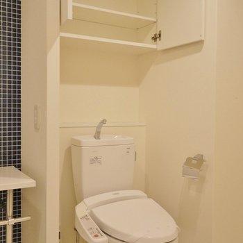 お隣は、おトイレ。上の物置は助かるぅ~。※写真は同タイプの別室