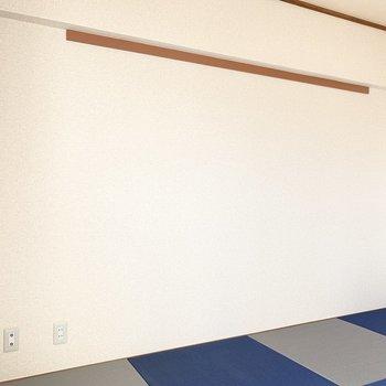 【和室】こちらの壁にテレビコンセントがあります。※写真は4階の同間取り別部屋のものです