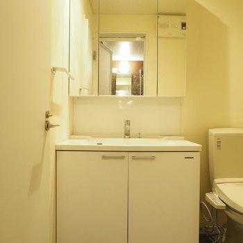 洗面台は大きく、実用的です。