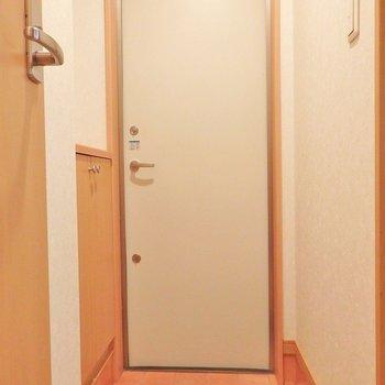 玄関はギュギュっと狭め。