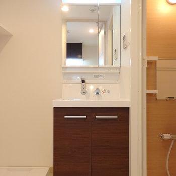 スタイリッシュな独立洗面台。洗濯機置き場の上の棚も便利